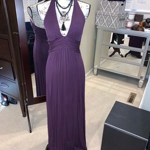 Stunning VS eggplant deep v halter dress